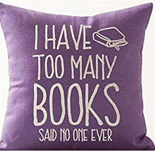 Book Lover Reading Book Club I Have Too Many Books Purple Background Cotton Linen Throw Pillow Case Cushion Cover Home Off...