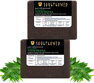Soulflower Handmade Neem Henna Hair Cleansing Bar, Remove loose Dandruff flakes, Nourish Scalp, Cleanse and Protect Hair, ...