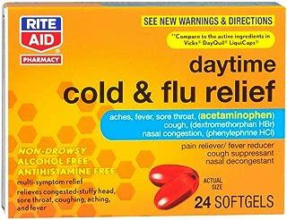 Rite Aid Multi-Symptom Daytime Cold & Flu Relief Softgels - 24 Count   Cold Medicine   Flu Pills