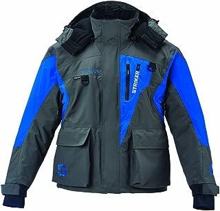 Srtiker Ice Men's Fishing Cold Weather Waterproof Insulated Hooded Predator Jacket, Gray/Blue, X-Large