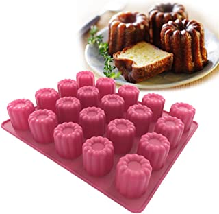 Silicone Canele Mold 20 Cavity Nonstick Cannele Baking Pan Bordelais Fluted Cake Mould Rose Red