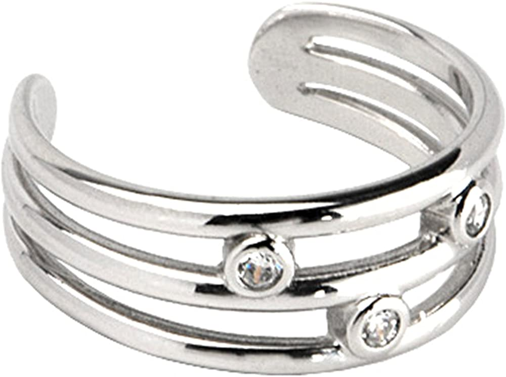 Body Candy Solid 10k White Gold Triple Cubic Zirconia Toe Ring