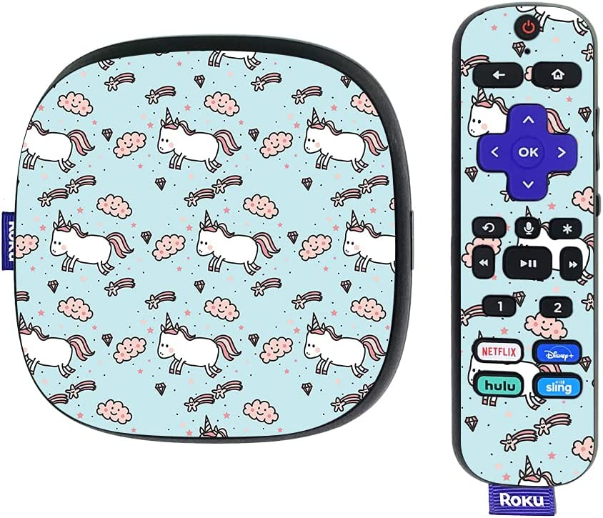 MightySkins Skin Compatible with Roku Ultra HDR 4K Streaming Media Player (2020) - Cute Unicorns | Protective, Durable, and Unique Vinyl Decal wrap Cover | Easy to Apply | Made in The USA