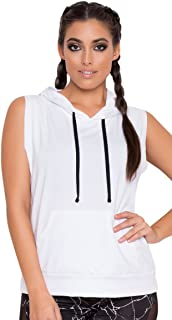 Women's Soft Athletic Front Kangaroo Pocket Sleeveless Pullover Hoodie