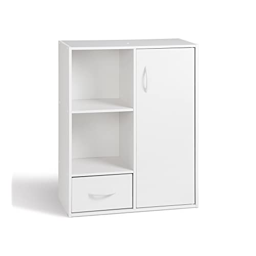 Alsapan 94050 Compo 09 Etagère 2 Casiers + 1 Tiroir + 1 Porte Blanc 61,5 x 29,5 x 80 cm