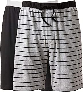 Hanes Men's 2-Pack Knit Short (Small, Grey Stripe/Black)