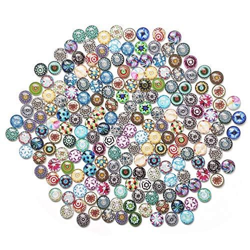 YXJDWEI 100pcs Mosaik Fliesen 20mm Gemischte Farben Runde Mosaik Kuppel Glas Cabochon für DIY Handwerk Glas Mosaik Schmuckherstellung