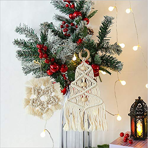 DFVEY Christmas Tree Macrame Hanging Handmade Cotton Boho Style 20.8 Inches Long for Chirstmas Tree Home Wall Art Decorations (White)