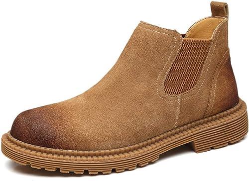 ZHRUI Bottes en Cuir véritable de Chelsea pour pour Hommes Chaussures de Confort antidérapantes durables à Semelle Souple (Couleuré   Marron, Taille   EU 42)  le style classique