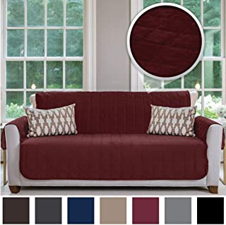 Gorilla Grip Original Velvet Slip Resistant Luxury Sofa Slipcover Protector, Seat Width Up to 70 Inch Patent Pending, 2 Inch Straps, Hook, Couch Furniture Cover for Pets, Dogs, Kids, Sofa, Merlot