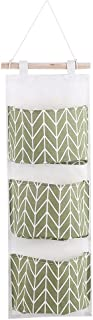 Storage Bag  Pockets Cotton Linen Wall Hanging Storage Bags Door Pouch Bedroom Home Office Organizer Green