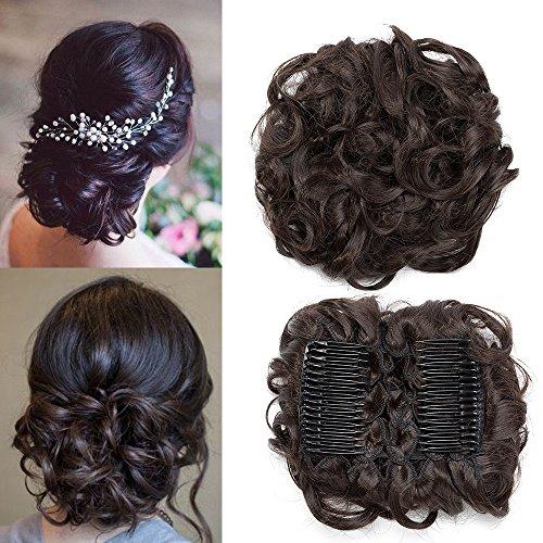 TESS Haargummi Haarteil Dutt Synthetik Haare für Haarknoten Zopf Gummiband Hochsteckfrisuren Haarband Damen Dunkelbraun