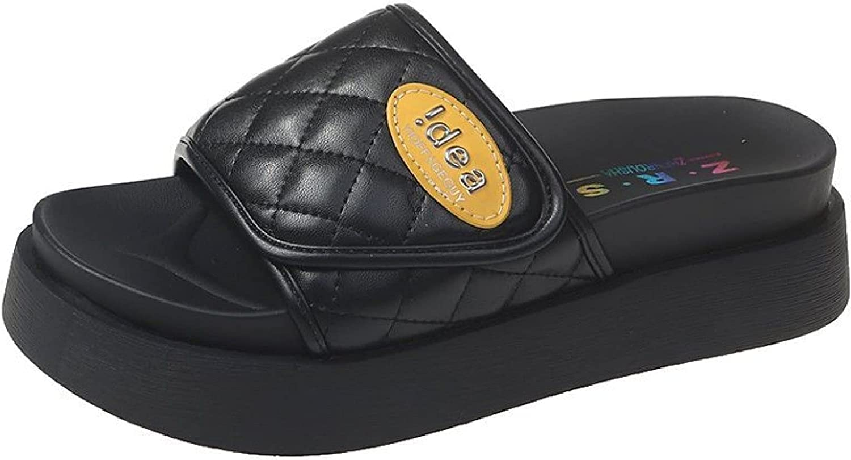 Women Platform Slip on Slides Classical Durable Ladies Peep Toe Height Increasing Soft Sole Slide Sandals