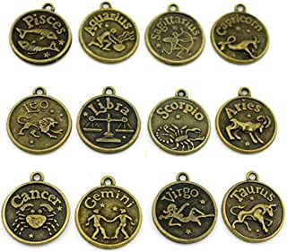 12pcs Antique Constellation Zodiac Sign Charms Pendant Astrology Horoscope Birthday Gift Necklace Bracelet Ankle Fashion Jewelry Making for Women and Men
