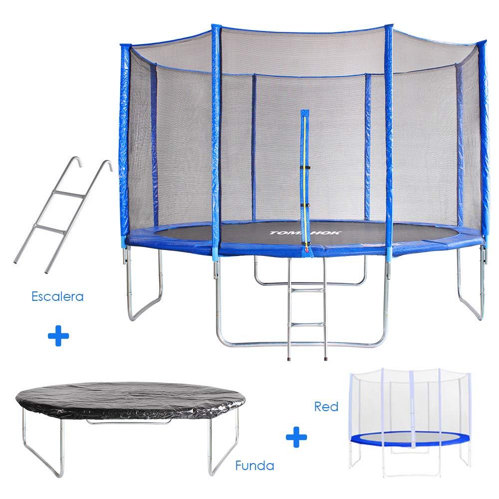 Cama Elástica Tomahok - 3,7 metros - malla de seguridad, escalera y funda incluida: Amazon.es: Juguetes y juegos