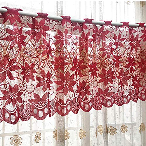 Floral Sheer Window Door Valance Curtains Red Lace Christmas Decorations Cafe Kitchen Valances Home Decor Drapes and Curtains for Bedroom Nursery Living Room Dinning Room, 79''Wx20''H
