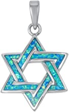 Oxford Diamond Co Lab Created Opal Star of David .925 Sterling Silver Pendant Blue or White