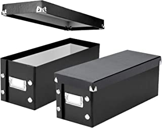 "Snap-N-Store CD Storage Boxes, Set of 2 Boxes, Each 13.25"" x 5.125"" x 5.125"", Holds up to 165 CDs, Black (SNS01617)"