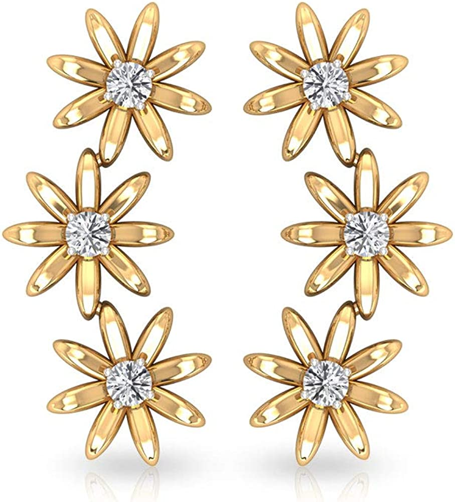 0.18 CT Round IGI Certified Diamond Flower Cartilage Earring, Solid 14k Gold 3 Floral Diamond Earring, Vintage Bridal Crawlers Helix Piercing Earrings, Screw Back