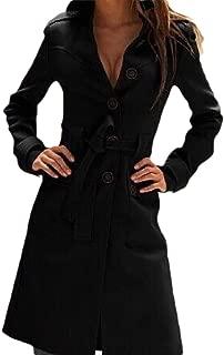 Womens Basic Single Breasted Long Sleeve Lapel Slim Fit Coat Belt Tops Overcoats