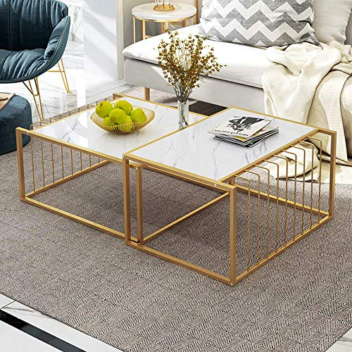 White Living Room Coffee Table Set of 2 Simple Nesting Tables, Marble Look Sofa Side Table Set Telescopic End Table with Matt Gold Mustard Metal Frame, Modern Center Table Set for Home Office