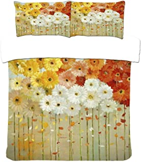 Bedding Set Double Bed 3D Polyester Nordic Abstract Oil Painting Flower Duvet Cover And Pillowcases 3Pcs Natural Reversibl...
