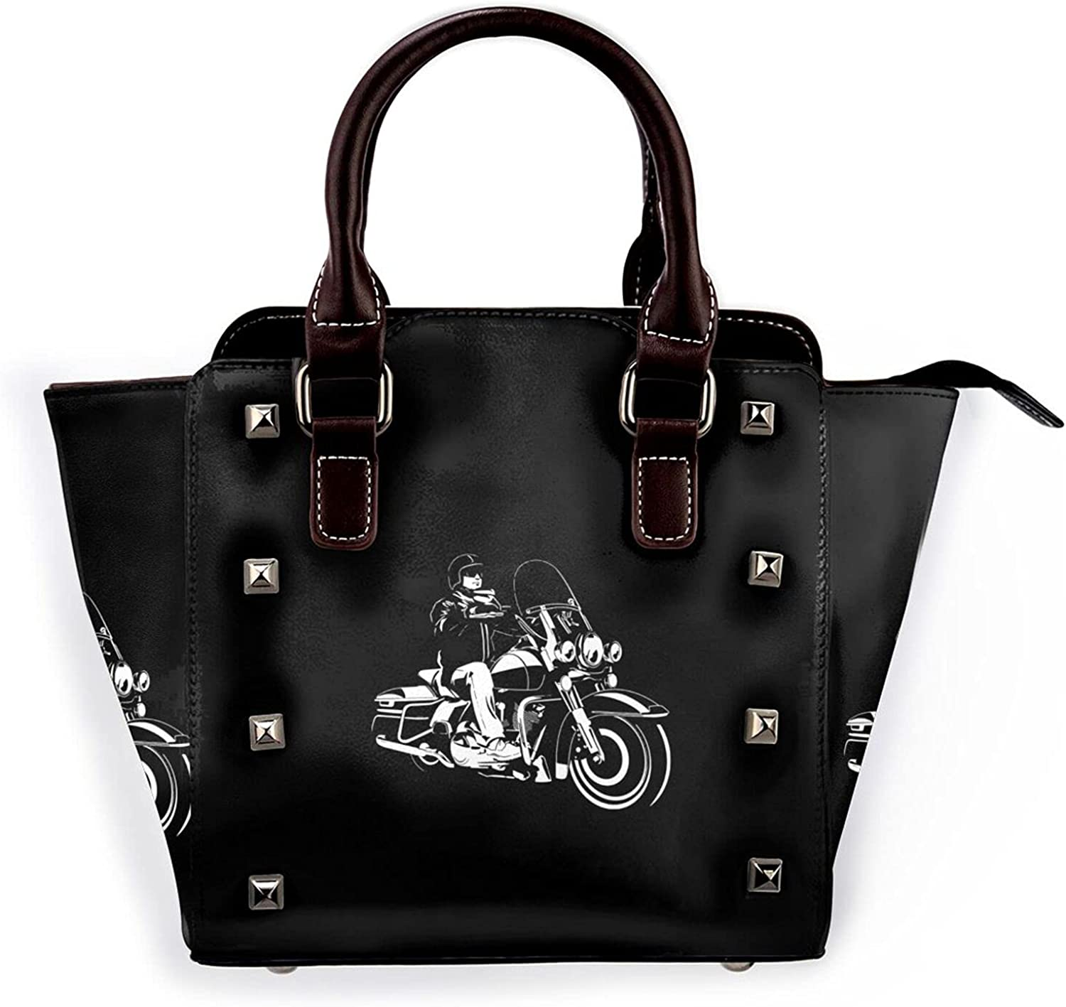 Motorcycle Club Stylish Genuine leather studded shoulder for women on business, work or travel.
