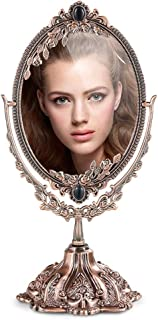 AINIYF Retro Desktop Double-Sided Makeup Mirror HD Desktop Vanity Mirror Metal Carved Princess Mirror(29x15cm) (Color : A)
