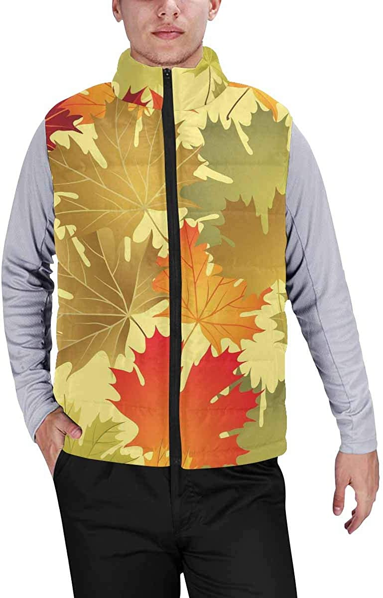 InterestPrint Winter Outwear Casual Padded Vest Coats for Men Colorful Anchor