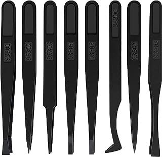Winfred 8 Stks Plastic Antistatische Pincet Slant Platte Tip Pincet voor Elektronica, Sieraden Maken, Laboratoriumwerk, Re...