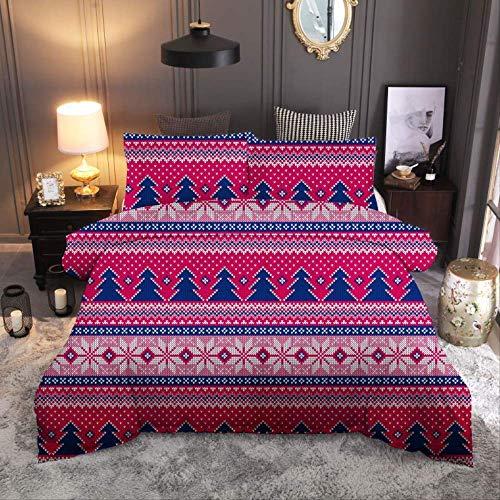 JOEYFAYE Christmas Santa Duvet Cover 135 * 200Cm, Microfiber Bed Ding Set With Pillowcase 50 * 75Cm, Zipper Closure. Christmas 3