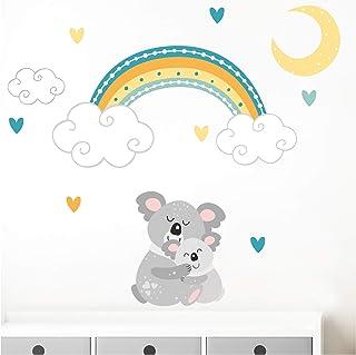 Little Deco Wandtattoo Koala mit Mond & Regenbogen I