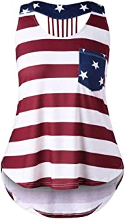 Womens Sleeveless Vest Distressed Flag Printed Racerback Tank Tops for Fourth of July Summer Loose Plus Size Blouse