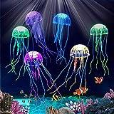 Abnaok Medusas decorativas para acuario, 6 unidades, luminosas, decoración para acuario, peces, tanque de peces