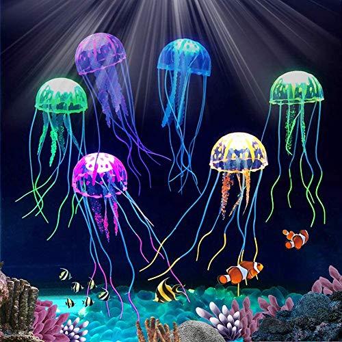 Abnaok Aquarium Dekoration Künstliche Quallen, 6pcs Leuchtende Quallen Aquarium Dekoration Aqua Ornaments Für Aquarium Fisch Tank