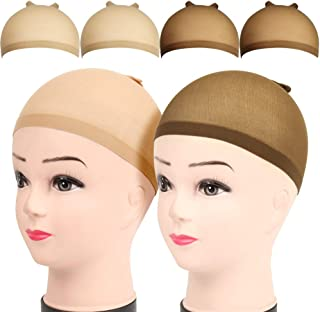 4pcs Stocking Caps for Wigs, FANDAMEI 2pcs Brown Skin Tone&2pcs Beige Stretchy Nylon Wig Caps
