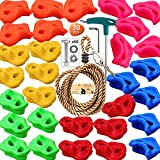 Mingber 30 Rock Climbing Holds for Kids And Adult with 6 Colors Climbing Wall Grip Kits Holds up to 440lbs 7.8Ft Knotted Rope for Indoor and Outdoor Playground Play Set Mingber & big Mounting Hardware