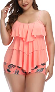 B2prity Women Tankini Set Plus Size Swimwear Flounce Printed Two Piece Swimsuits Tummy Control