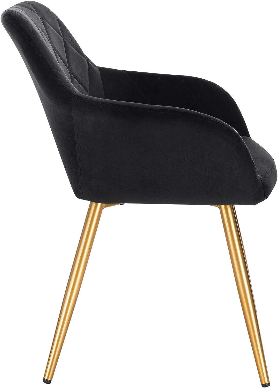 EUGAD 2 X Chaises de Cuisine Pratique avec siège en Tissu Technique Chaise à Manger avec Pieds en métal Chaise de Salon Moderne,Brun 0632BY-2 Noir
