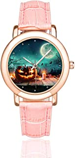 InterestPrint Women's Casual Pink Leather Strap Watches Halloween Forest Rose Golden Wrist Watch
