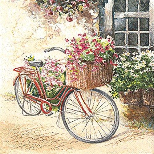 """Serviette\""""Cottage Bike\"""" Motiv Fahrrad Blumenkorb Landhaus, Serviettentechnik 20 Stück"""