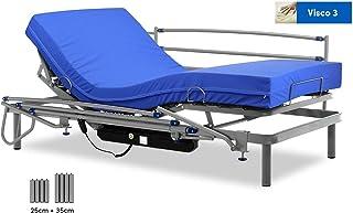 comprar comparacion Gerialife® Cama articulada eléctrica con colchón Sanitario viscoelástico y barandillas | Patas más Altas (90x190, Plateado)