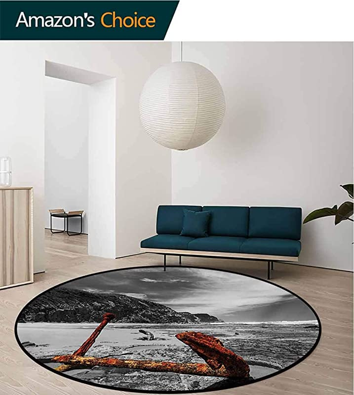 RUGSMAT Shipwreck Modern Washable Round Bath Mat Weathered Photo Of Aged And Decayed Flaking Anchor On The Beach By The Hills Marine Non Slip Bathroom Soft Floor Mat Home Decor Diameter 59 Inch