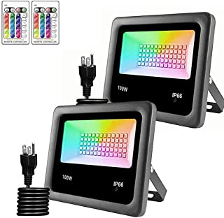 2 Pack 100W Color LED Flood Lights RGB LED Flood Light with Remote Control, 16 Colors 4 Modes Wall Light IP66 Waterproof O...