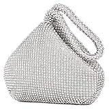 Selighting - Bolso de mano para mujer, diseño de diamantes de imitación, para fiestas de graduación, bodas, Plateado (Plateado), Talla única