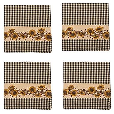 Sunflower N Berries Black Gingham 18 x 18 All Cotton Napkin Pack of 4