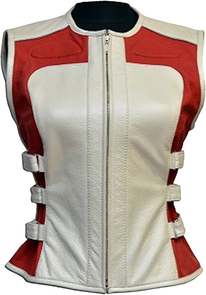 Sleekhides Women's Fashion Red & White Biker Leather Vest