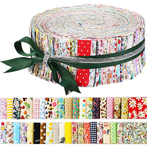 100 Pieces Jelly Fabric Roll 2.6 Inch Roll up Fabric Quilting Strips Floral Printed Craft Fabric Bundle FlowerPrecut Patchwork Square with Assorted Patterns for DIY Crafts