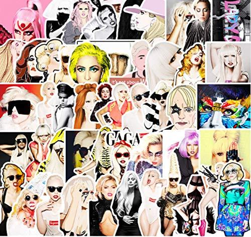Lot de 51 autocollants Lady Gaga pour bagages, ordinateurs portables, réfrigérateurs, téléphones portables, iPad