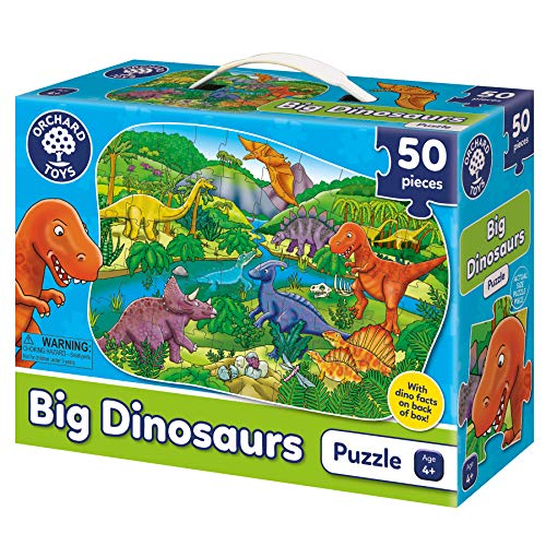 Orchard Toys Big Dinosaurs Jigsaw Puzzle - 50 Piece Floor Puzzle - Perfect for Home Learning, Multi